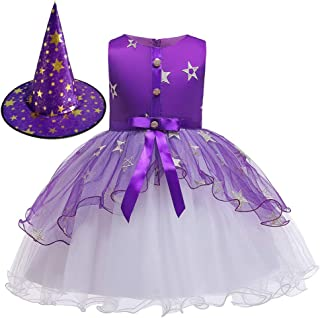Halloween Costumes Toddler Witch Costume for Girls with Witch Hat Kids Princess Dresses Holiday Party Tulle Outfit
