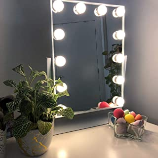 Large Hollywood Makeup Vanity Mirror with Lights,Plug in Light-up Professional Mirror with Storage,Removable 10x Magnification,3 Color Lighting Modes, Women Cosmetic Mirror with 12 Dimmable Bulbs