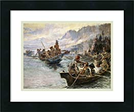Framed Wall Art Print Lewis and Clark on The Lower Columbia by Charles Russell 18.00 x 15.00