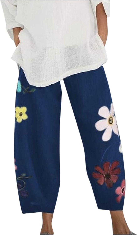 Wabtum Summer Pants Charlotte Mall Raleigh Mall for Women Linen Print Flowers Casual Cotton