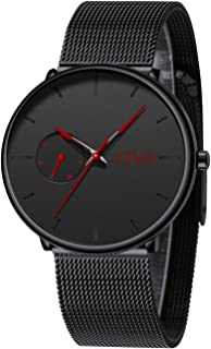 CIVO Relojes Hombre Ultra Fino Clásico Acero Inoxidable Cuero Impermeable Relojes de Pulsera Deportivo Analogicos Fecha
