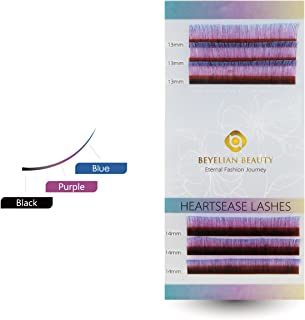 BEYELIAN 3C Heartsease 0.07mm Colored Individual Eyelash Extensions XD Volume Lashing Lashes C Curl 13-14mm Mixed Tray 6-Rows