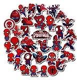 ZJJHX Marvel Spiderman Casque Skateboard Valise Cahier Tasse d'eau Voiture électrique étanche personnalité Graffiti Autocollants 35 Feuilles