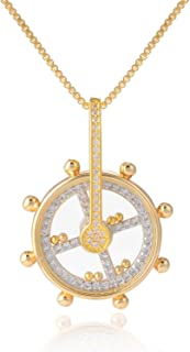 FM FM42 Pave Simulated Cubic Zirconia Mini Rolling Ball in Glass Locket Ship's Wheel Rudder Kinetic Moving Pendant Necklace