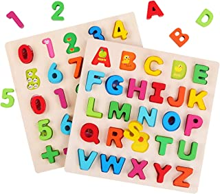 GEMEM Alphabet Puzzle Wooden Puzzles Upper Case Letters and Numbers Educational Learning Blocks Board Toys for 3+ Years Old Preschool Boys & Girls Toddlers Pack of 2