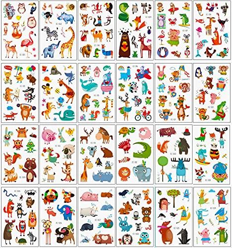 24 Feuilles Tatouage Enfant Animaux Kit,Tatouage Ephemere Enfant,Tatouage Temporaire étanche pour Fille Garcon Tattoos Enfants de Fête d'anniversaire Cadeau