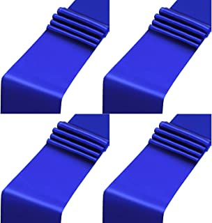 Aneco 4 Pack Satin Table Runner 12 x 108 Inch Long Bright Silk and Smooth Fabric Party Table Runner for Wedding Banquet Party Decoration- Royal Blue