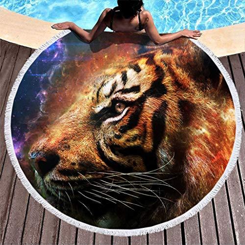 MINNOMO Toalla de Playa Redonda Tie Dye con borlas, fantasía, Tigre,