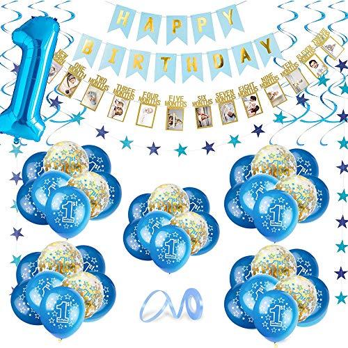 1 Anno Compleanno Decorazione, Blu Set di Palloncini Numero 1 Buon Compleanno 12 Mesi Fotografico Banner Palloncini in Lattice con Coriandoli in Lamina per Bambino Bambina