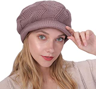 G.C Winter Warm Hat Beret Newsboy Cap for Women Snow Ski Outdoor Knitted Caps with Visor