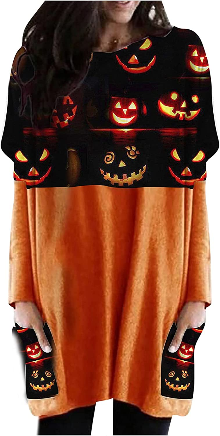WXYGY Halloween Long Sleeves Print Oversize T Shirt Dresses O Neck Tunic with Pocket for Women