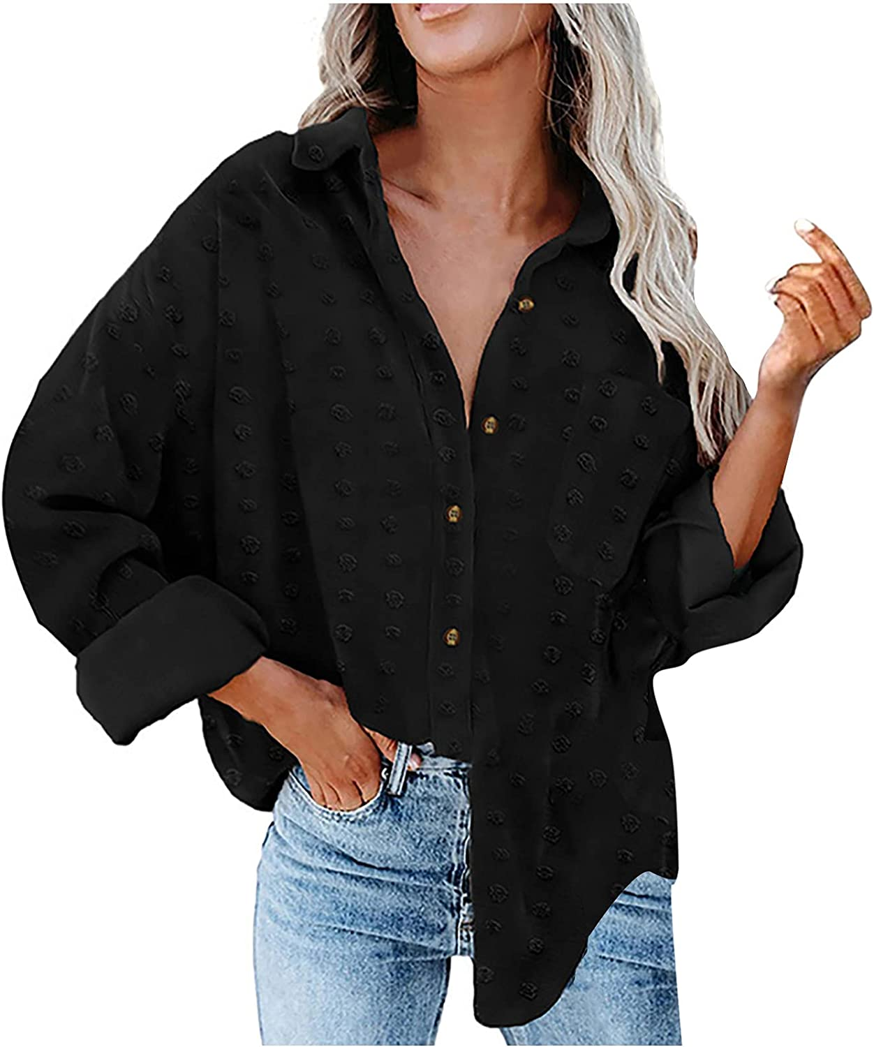 Women's Fall Lightweight Shirt Coat Oversized Solid Color Long Sleeve Tops Fashion Pom Pom Lapel Button Pocket Blouse