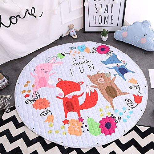 Kinder Aufräumsack Spielmatte Spielzeugteppich für kinderzimmer Speicher Tasche& Aufbewahrung,⌀150cm (Fuchs)