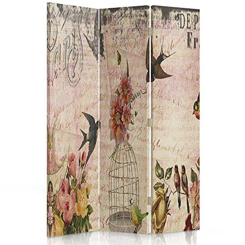 Feeby Frames Il paravento Stampato su Telo,Il divisorio Decorativo per Locali, unilaterale, a 3 Parti (110x150 cm), Vintage, Francia, Fiori, Uccelli, Rosa, Grigio