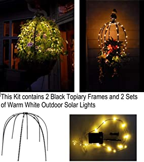 Outdoor Solar Lights with a Topiary Form 20 Inch x 20 Inch x 20 Inch Containers and Hanging Planter Trellis for Potted Plants (2, Black with Warm White Solar Lights)
