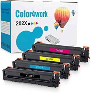 Color4work Compatible Toner Cartridge Replacement for HP 202X 202A (CF500X CF501X CF502X CF503X) High Yield Black/Cyan/Magenta/Yellow, 4-Pack, use for HP MFP M281 M281fdw M281cdw, M254 M254dw Printer
