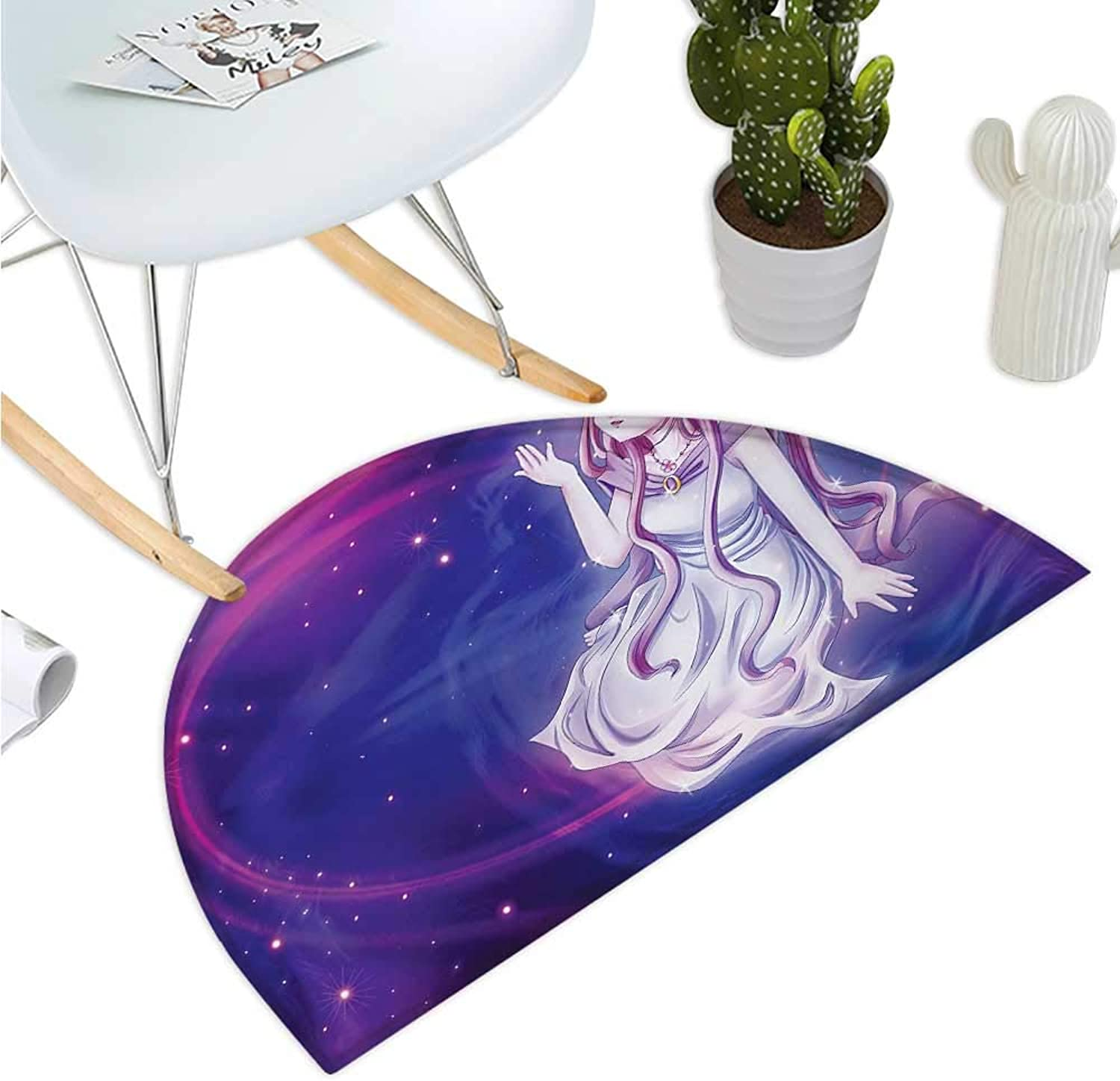 Anime Semicircular Cushion Cute Purple Anime Fairy Sitting in Theme of Zodiac Astrology Hgoldscope Sign Artprint Halfmoon doormats H 35.4  xD 53.1  Purple bluee