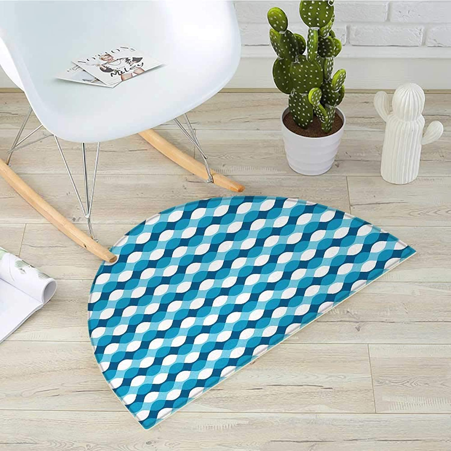 bluee and White Half Round Door mats Horizontal Waves Overlapping Borders Abstract Sea Inspired Flow Bathroom Mat H 39.3  xD 59  bluee Pale bluee White