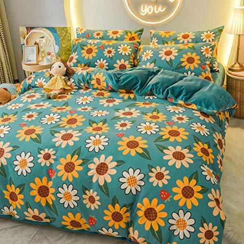crushed velvet bedding single,A pure cotton B coral fleece four-piece winter plush linen double-sided duvet cover milk flannel-Sunflower Ballad_1.8m bed sheet 200x230cm 4pcs