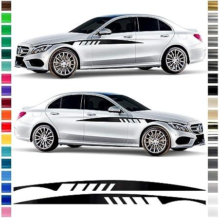 Auto Dress Seiten Streifen Aufkleber Set Dekor Passend Für Mercedes E Klasse W213 Coupe In Wunschfarbe Motiv Edition One Schwarz Matt Auto