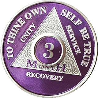 3 Month Purple Silver Plated AA Medallion 90 Day Chip
