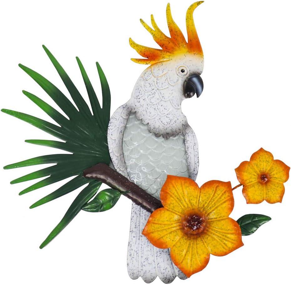 LIFFY Metal Regular discount Bird Wall Decor Outdoor Hangi National products Parrot Glass Art