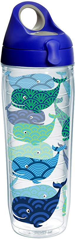Tervis 1231164 Whale Pattern Insulated Tumbler With Wrap And Blue With Gray Lid 24oz Water Bottle Clear