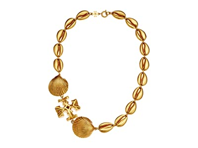 Tory Burch Shell Statement Necklace (Rolled Brass) Necklace