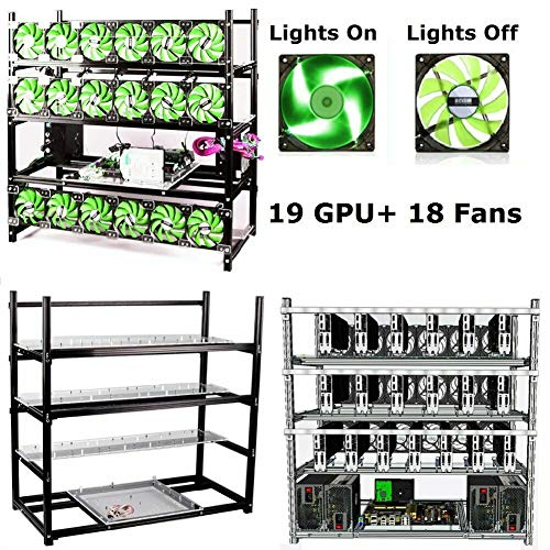 19GPU Open Air Mining Rig Case Frame Bitcoin Ethereum BTC LTC (with 18 Fans)
