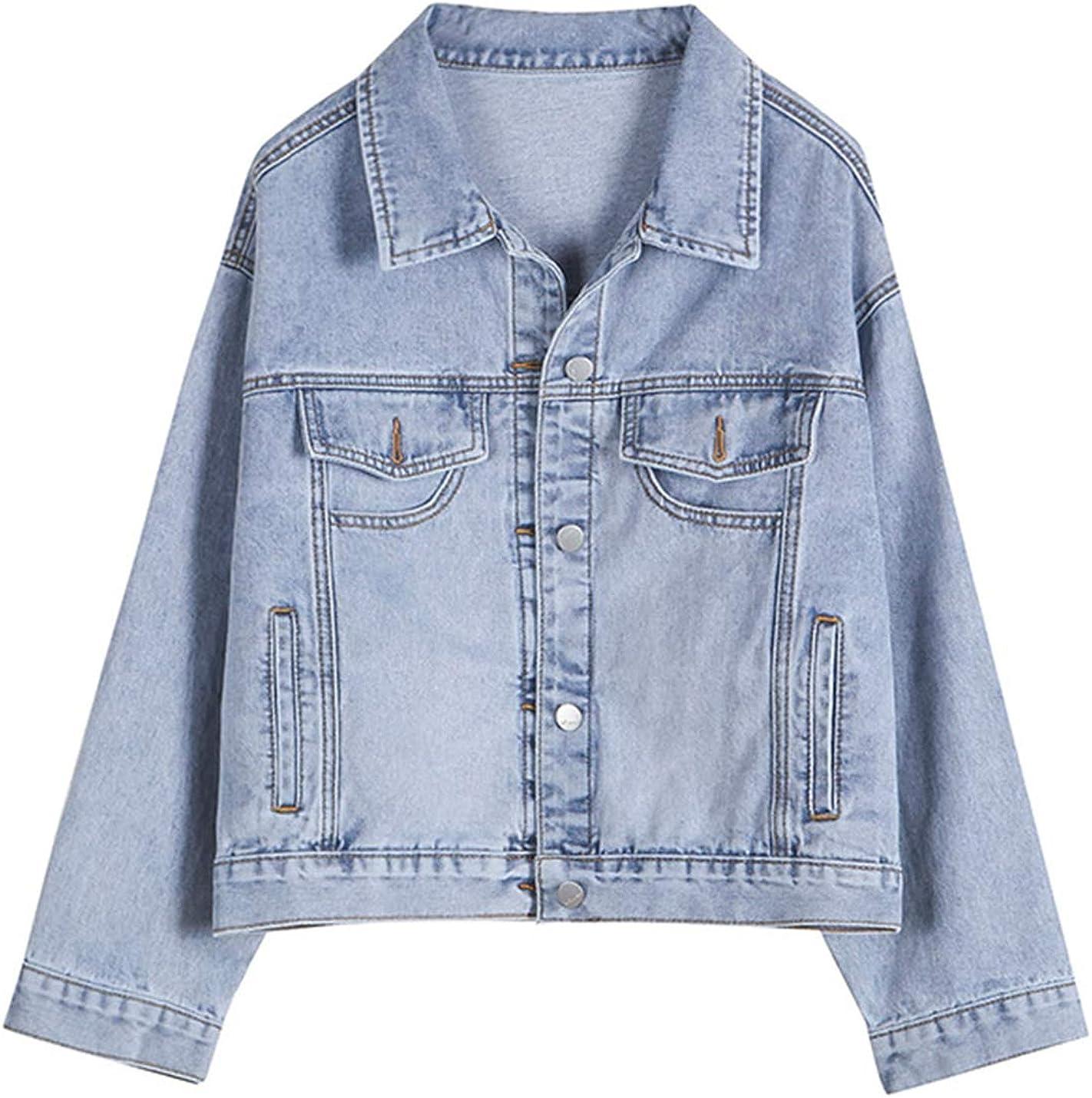Gihuo Women's Casual Loose Button Boyfriend Long Sleeve Washed Short Denim Jackets