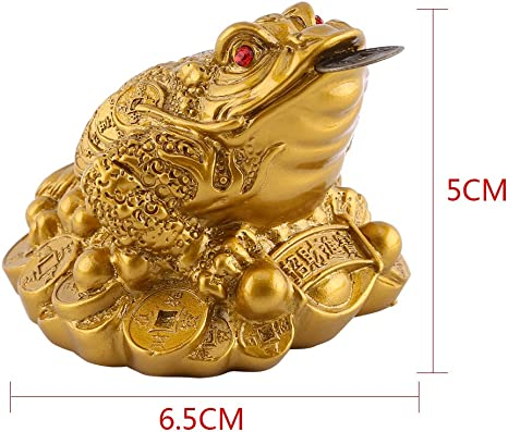 1Pc Feng Shui Gold Frog Toad Coin Lucky Money Wealth Career Good Luck Orname I2
