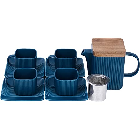 Taimei Teatime Ceramic Modern Blue Teapot Set of 9, 23-oz Teapot with Infuser and Tea Cup Set, Anti-Slip Design Tea Sets for Adults, Tea Cups and Saucers Set of 4