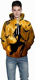 Jessie storee Helloween Hooded Sweatshirt 3D Printed Witch Bat Silhouette Print Pullover Hoodie for Men Couples Unisex Horror Clothing Large Size Sweater Loose Baseball Uniform Tide,