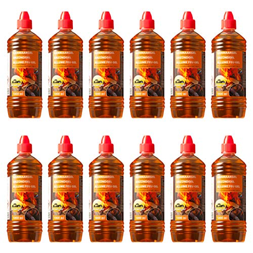 Farmlight BBQ 12 X 1 Bio accendifuoco in Gel x Barbecue, camini e bracieri 12 Bottiglie da 1 litro, Orange, 12 LITRI