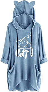 Kansopa Women Casual Hooded Long Sleeves Pullover Cat Ear Print Flowy Hem Pocket Cute Shirt Irregular Top Blouse