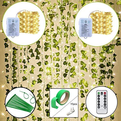 Lackingone 25.2M 12 Pack künstliche Efeu gefälschte Pflanzen mit 200 LED-Lichterketten, Weinblätter hängen künstliche Girlande, für Home Kitchen Garden Office Wand Hochzeit Dekoration