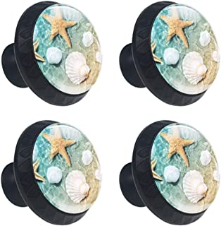 4 Pcs 35mm Beach Starfish Seashell Cabinet Knobs Round Crystal Glass Drawer Handles Pull with Screws for Home, Office, Kitchen, Bathroom Cabinet, Dresser and Cupboard (1-3/8 Inches)