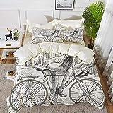 ropa de cama: juego de funda nórdica, bicicleta, sexy y escandalosa jovencita...