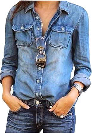 Blusa De Mezclilla para Mujer Tops con Botones Camisa de ...