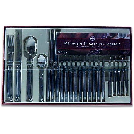Laguiole Production - Ménagère 24 pièces - Set de couverts de table acier inox et ABS pour 6 personnes - Présentation coffret cadeau - Couleur noir nacré