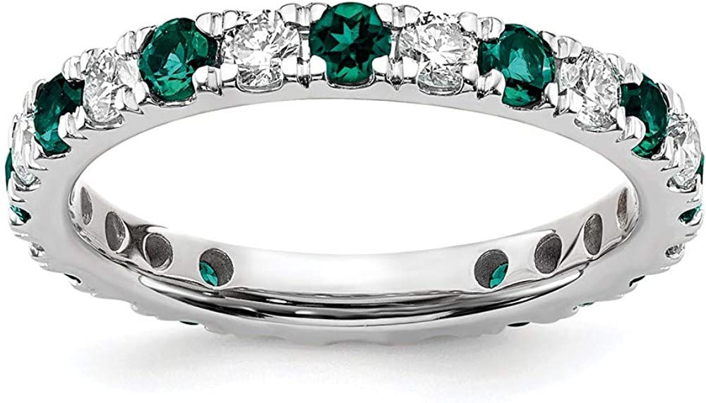14k White Gold Lab Grown Diamond Si1/si2 G H I Created Alexandrite Eternity Wedding Ring Band Gemstone Et Style Fine Jewelry For Women Gifts For Her