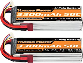 Youme Power Lipo 4S Battery,14.8v 3300mAh Lipo Battery Pack 50C with T Plug for RC Helicopter Airplane Boat Quadcopter (2 Packs)