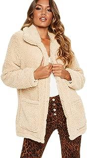 Aunimeifly Warm Winter Outwear Ladies Jackets with Pocket Women's Fuzzy Fleece Lapel Open Front Coat Faux Fur