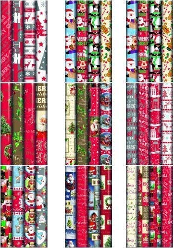 4 x 10m Christmas Wrapping Paper Rolls - Kids Snowman / Santa / Penguin / Reindeer by Swoosh Supplies