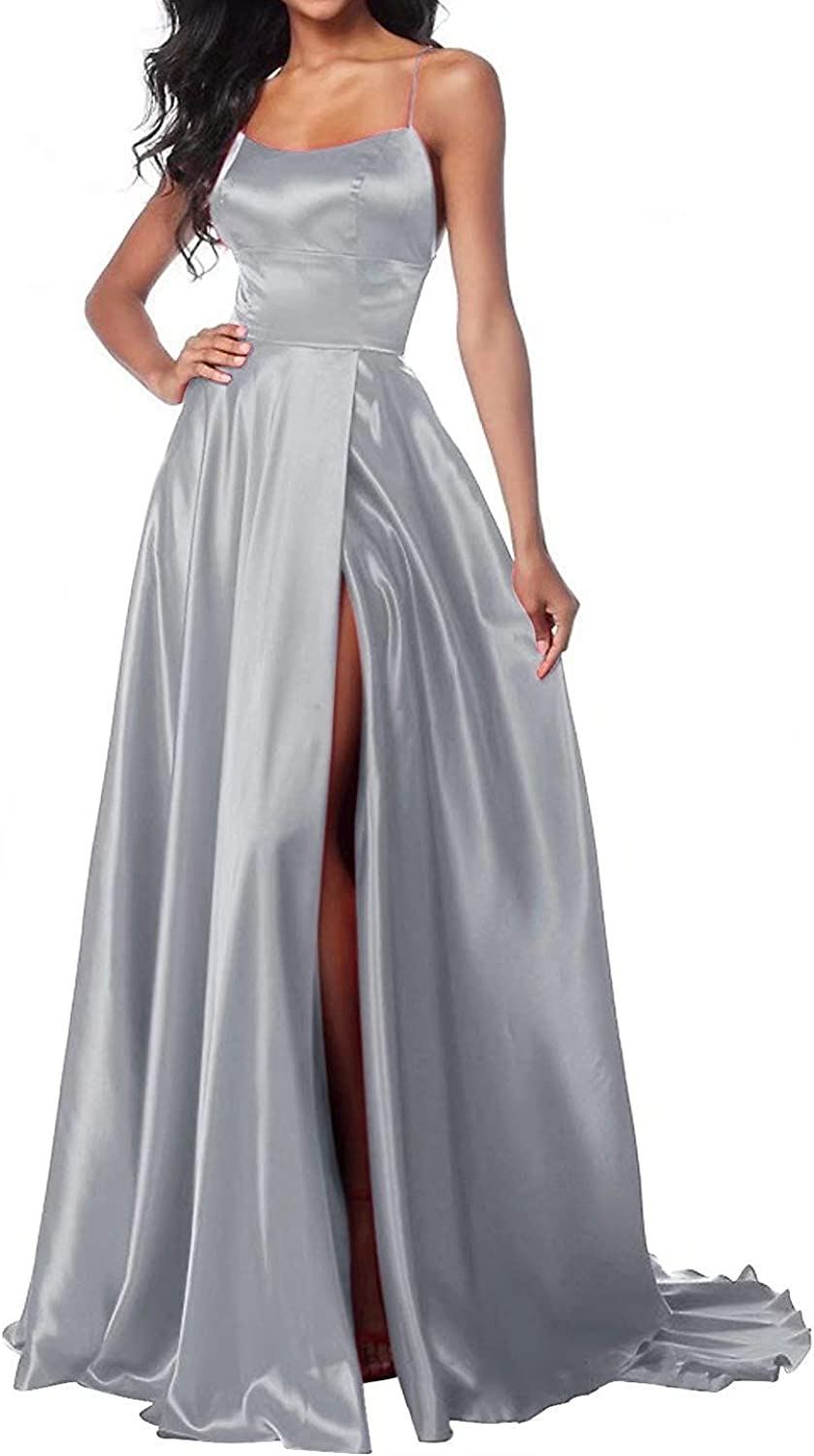 JQLD Women's Sexy Sweetheart Straps A Line Side Slit Prom Dresses Long Backless Evening Formal Gowns