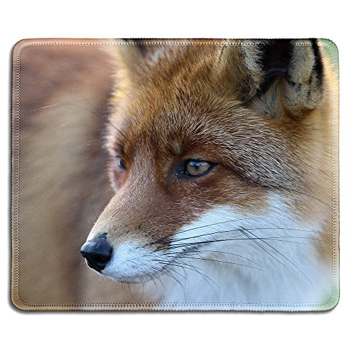 dealzEpic - Animal Art Mousepad - Natural Rubber Mouse Pad Printed with A Fox - Stitched Edges - 9.5x7.9 inches