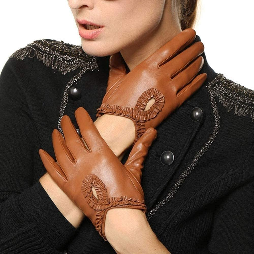 ACCDUER Men's Gloves Sheepskin Gloves Ladies Spring and Autumn Fashion Thin Lace Decorative Gloves Fashion Touch Screen Warm Gloves Brief Bow Leather Driving Mitten Driving Gloves