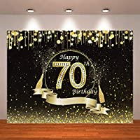 lovedomi 5x3ft お誕生日おめでとう黒背景ゴールデンスポットシャンパンダイヤモンド70歳の誕生日写真背景写真スタジオブース家族の誕生日パーティー写真スタジオ小道具ビニール素材