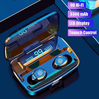 FairOnly F9 Blueteeth Earphone Wireless Headset Stereo Bass Sound Touch Control Sports Headset LED Display With 3300mAh Charging Bin Electronics