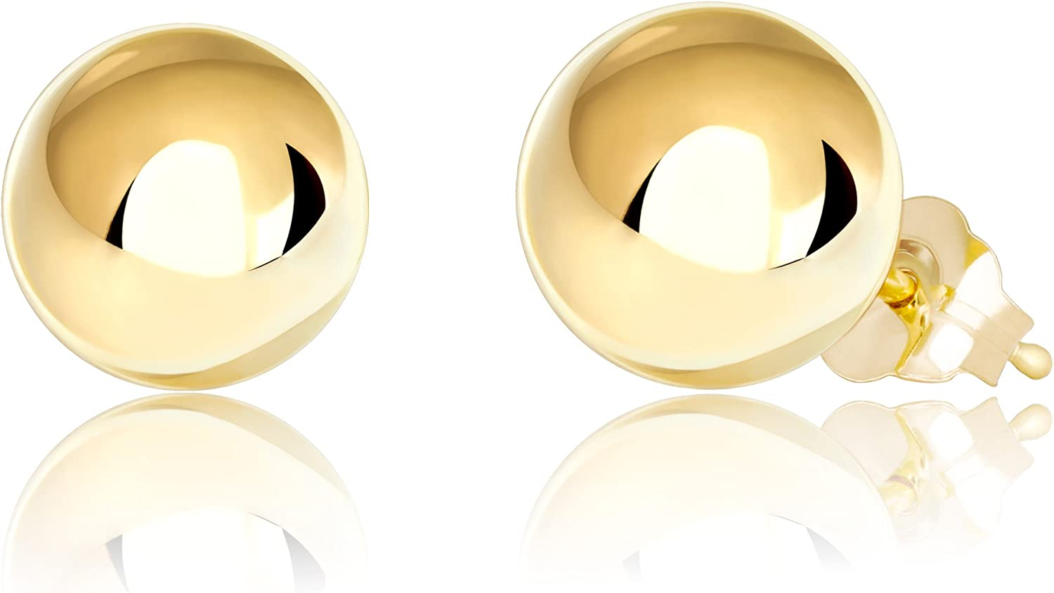 Premium 14K Yellow Gold Filled Ball Stud Earrings with 5mm Backings, 2mm - 10mm